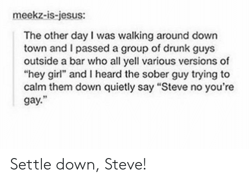"I Passed: meekz-is-jesus:  The other day I was walking around down  town and I passed a group of drunk guys  outside a bar who all yell various versions of  ""hey girl"" and I heard the sober guy trying to  calm them down quietly say ""Steve no you're  gay."" Settle down, Steve!"