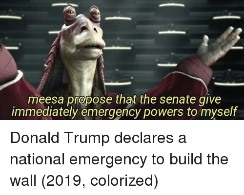 Donald Trump, Trump, and Powers: meesa propose that the senate give  immediately emergency powers to myself Donald Trump declares a national emergency to build the wall (2019, colorized)