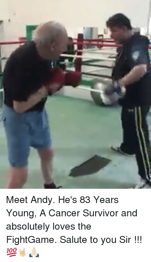 Salute To You: Meet Andy. He's 83 Years Young, A Cancer Survivor and absolutely loves the FightGame. Salute to you Sir !!! 💯🤘🏼🙏🏻