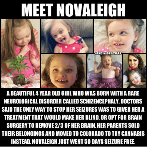neurology: MEET NOVALEIGH  HENDTHEDRUCWAR  ABEAUTIFUL4YEAR OLD GIRL WHO WAS BORN WITH A RARE  NEUROLOGICAL DISORDER CALLED SCHIZENCEPHAL.DOCTORS  SAID THE ONLY WAY TO STOPHERSEIZURES WASTO GIVER HERA  TREATMENT THATWOULD MAKE HER BLIND, OROPT FOR BRAIN  SURGERY TO REMOVE 2/3 OF HER BRAIN. HER PARENTS SOLD  THEIR BELONGINGSAND MOVEDTO COLORADO TO TRYCANNABIS  INSTEAD. NOVALEIGH JUST WENT 50 DAYSSEIZURE FREE.