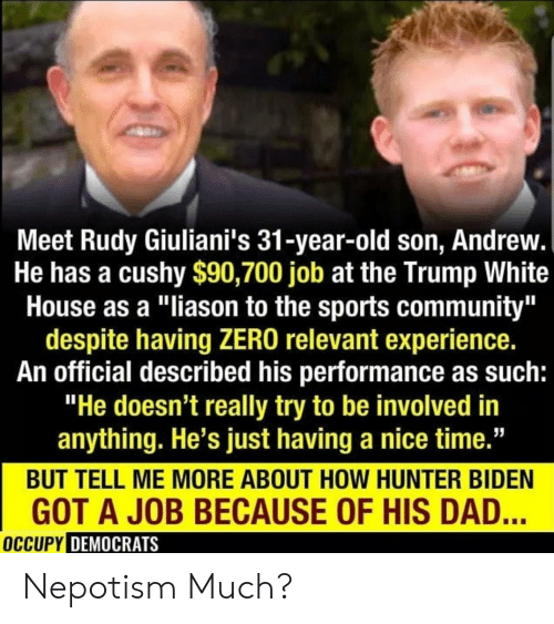"Occupy Democrats: Meet Rudy Giuliani's 31-year-old son, Andrew.  He has a cushy $90,700 job at the Trump White  House as a ""liason to the sports community""  despite having ZERO relevant experience.  An official described his performance as such:  ""He doesn't really try to be involved in  anything. He's just having a nice time.""  BUT TELL ME MORE ABOUT HOW HUNTER BIDEN  GOT A JOB BECAUSE OF HIS DAD...  OCCUPY DEMOCRATS Nepotism Much?"