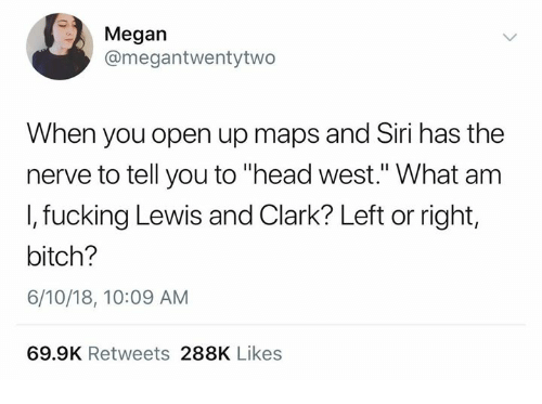 "Bitch, Fucking, and Head: Megan  @megantwentytwo  When you open up maps and Siri has the  nerve to tell you to ""head west."" What am  I, fucking Lewis and Clark? Left or right,  bitch?  6/10/18, 10:09 AM  69.9K Retweets 288K Likes"