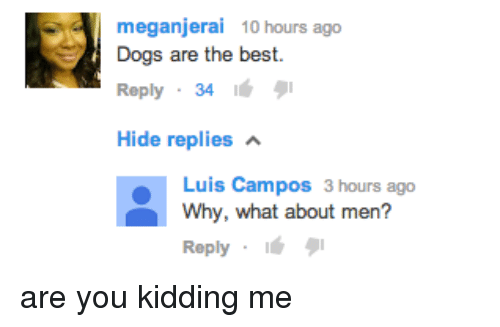 Best Reply: meganjerai 10 hours ago  Dogs are the best.  Reply 34 6  Hide replies  Luis Campos 3 hours ago  Why, what about men?  Reply <p>are you kidding me</p>