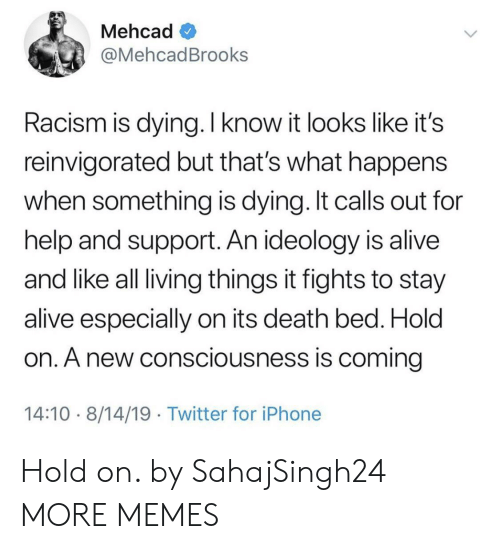 consciousness: Mehcad  @MehcadBrooks  Racism is dying. I know it looks like it's  reinvigorated but that's what happens  when something is dying. It calls out for  help and support. An ideology is alive  and like all living things it fights to stay  alive especially on its death bed. Hold  on. A new consciousness is coming  14:10 8/14/19 Twitter for iPhone Hold on. by SahajSingh24 MORE MEMES