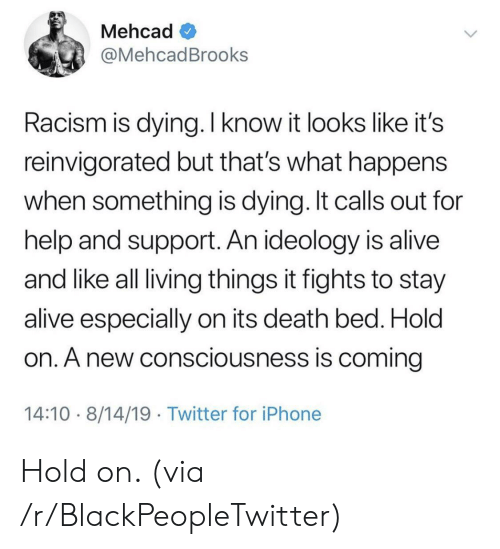 consciousness: Mehcad  @MehcadBrooks  Racism is dying. I know it looks like it's  reinvigorated but that's what happens  when something is dying. It calls out for  help and support. An ideology is alive  and like all living things it fights to stay  alive especially on its death bed. Hold  on. A new consciousness is coming  14:10 8/14/19 Twitter for iPhone Hold on. (via /r/BlackPeopleTwitter)