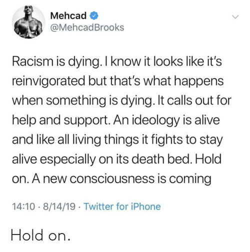 consciousness: Mehcad  @MehcadBrooks  Racism is dying. I know it looks like it's  reinvigorated but that's what happens  when something is dying. It calls out for  help and support. An ideology is alive  and like all living things it fights to stay  alive especially on its death bed. Hold  on. A new consciousness is coming  14:10 8/14/19 Twitter for iPhone Hold on.