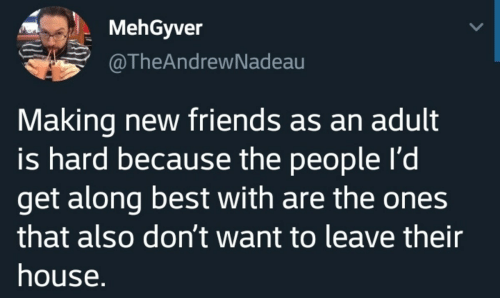 get along: MehGyver  @TheAndrewNadeau  Making new friends as an adult  is hard because the people I'd  get along best with are the ones  that also don't want to leave their  house.