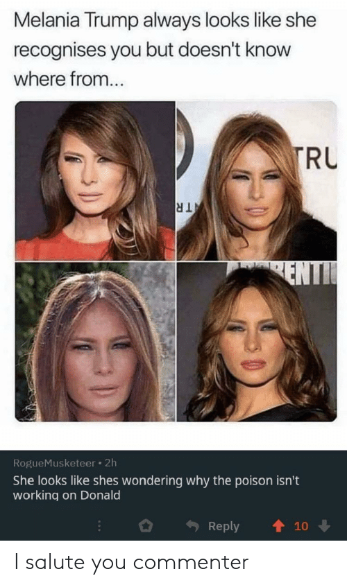 Salute: Melania Trump always looks like she  recognises you but doesn't know  where from...  TRU  TR  ENTI  RogueMusketeer 2h  She looks like shes wondering why the poison isn't  working on Donald  Reply  10 I salute you commenter