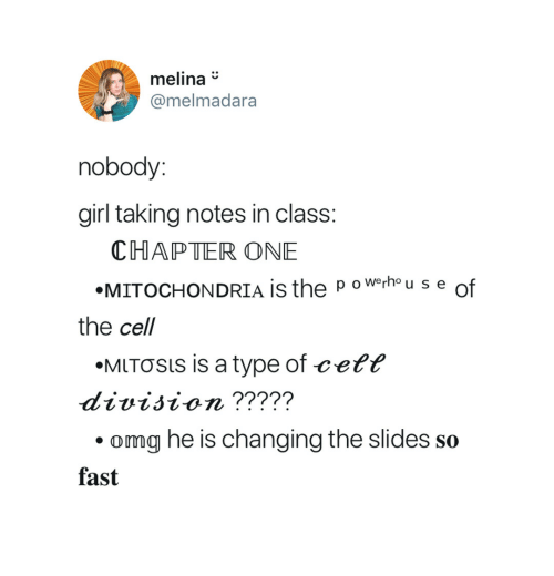 The P: melina*  @melmadara  nobody:  girl taking notes in clas  CHAPTER ONE  «MITOCHONDRIA IS the p owerhou s e of  the cell  «MITƠSls is a type of ¢eťť  division ?????  omg he is changing the slides so  fast