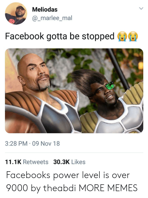 over 9000: Meliodas  @_marlee_mal  Facebook gotta be stopped  3:28 PM 09 Nov 18  11.1K Retweets 30.3K Likes Facebooks power level is over 9000 by theabdi MORE MEMES