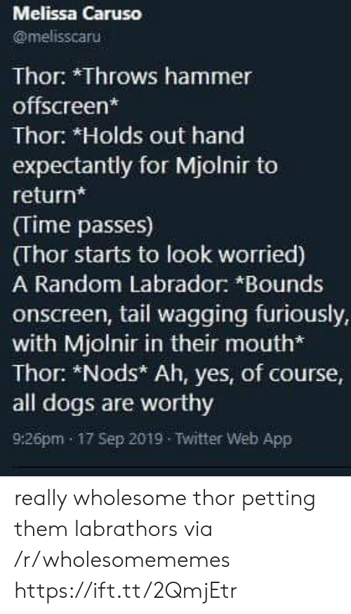 tail: Melissa Caruso  @melisscaru  Thor: *Throws hammer  offscreen*  Thor: *Holds out hand  expectantly for Mjolnir to  return*  (Time passes)  (Thor starts to look worried)  A Random Labrador: *Bounds  onscreen, tail wagging furiously,  with Mjolnir in their mouth*  Thor: *Nods* Ah, yes, of course,  all dogs are worthy  9:26pm 17 Sep 2019 Twitter Web App really wholesome thor petting them labrathors via /r/wholesomememes https://ift.tt/2QmjEtr