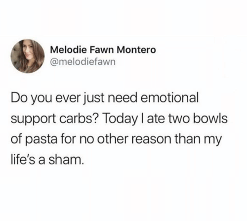 montero: Melodie Fawn Montero  @melodiefawn  Do you ever just need emotional  support carbs? Today I ate two bowls  of pasta for no other reason than my  life's a sham.