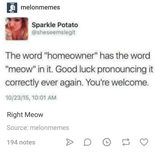 """Good, Potato, and Word: melonmemes  Sparkle Potato  @sheseemslegit  The word """"homeowner"""" has the word  """"meow"""" in it. Good luck pronouncing it  correctly ever again. You're welcome.  10/23/15, 10:01 AM  Right Meow  Source: melonmem  194 notes  es"""