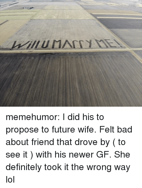 Bad, Definitely, and Future: memehumor:  I did his to propose to future wife. Felt bad about friend that drove by ( to see it ) with his newer GF. She definitely took it the wrong way lol