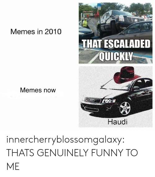 Memes Now: Memes in 2010  THAT ESCALADED  QUICKLY  Memes now  Haudi innercherryblossomgalaxy: THATS GENUINELY FUNNY TO ME