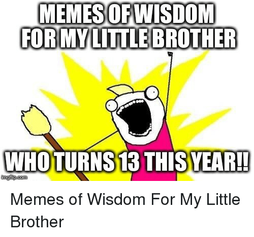 Memes, Little Brother, and Wisdom: MEMES OFWISDOM  FORMYLITTLE BROTHER  WHOTURNS 13 THISYEAR!!  imgfiip.com Memes of Wisdom For My Little Brother