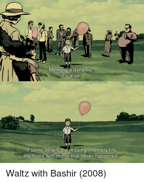 it's alive: Memory is dynamic  It's alive  If some details are missing memory fills  the holes with things that never happened Waltz with Bashir (2008)