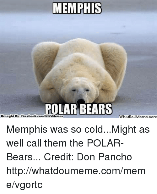 so cold: MEMPHIS  OLAR BEARS  Brought By: Facebook.com/NBAMemes  WhatnouMeme com Memphis was so cold...Might as well call them the POLAR-Bears... Credit: Don Pancho  http://whatdoumeme.com/meme/vgortc