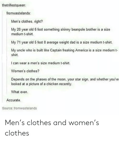 Women: Men's clothes and women's clothes