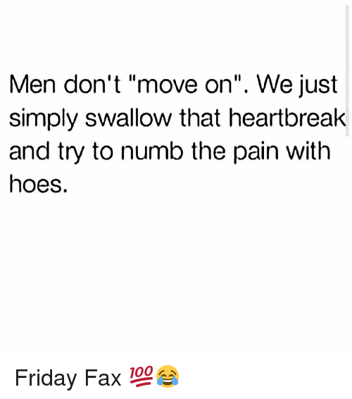 """Friday, Funny, and Hoes: Men don't """"move on"""". We just  simply swallow that heartbreak  and try to numb the pain with  hoes. Friday Fax 💯😂"""