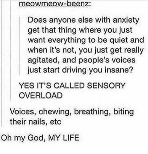 Oh My Gods: meowmeow-beenz:  Does anyone else with anxiety  get that thing where you just  want everything to be quiet and  when it's not, you just get really  agitated, and people's voices  just start driving you insane?  YES IT'S CALLED SENSORY  OVERLOAD  Voices, chewing, breathing, biting  their nails, etc  Oh my God, MY LIFE