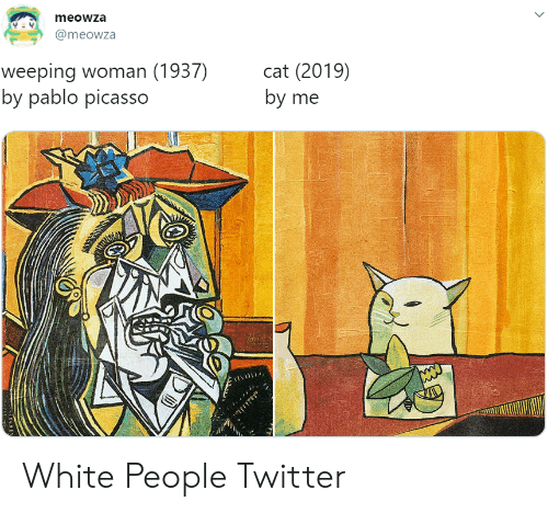 pablo: meowza  @meowza  weeping woman (1937)  by pablo picasso  cat (2019)  by me White People Twitter