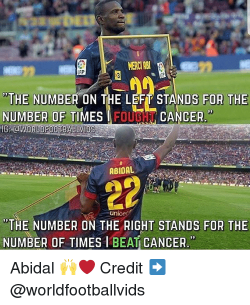 """Memes, Cancer, and 🤖: MERCI ABU  THE NUMBER ON THE LEFT STANDS FOR THE  NUMBER OF TIMES I FOUGN CANCER  """"THE NUMBER ON THE RIGHT STANDS FOR THE  NUMBER OF TIMES1BEAT CANCER. Abidal 🙌❤️ Credit ➡️ @worldfootballvids"""
