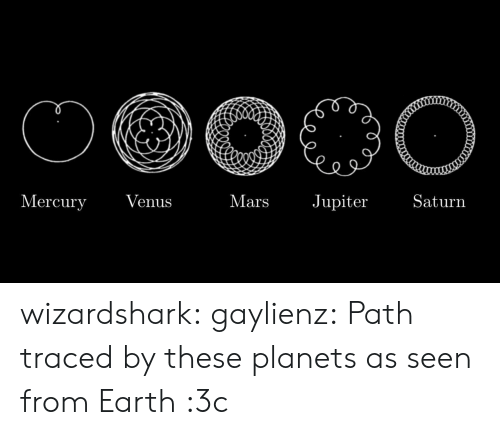 Venus: Mercury  Jupiter  Saturn  Venus  Mars wizardshark:  gaylienz: Path traced by these planets as seen from Earth  :3c