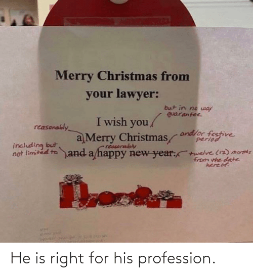 including: Merry Christmas from  your lawyer:  but in no way  guarantee  I wish you/  reasonably  andlor festive  period  a Merry Christmas  reasorably  not limited to and a happy new year:+welve (12) menths  including but  from the date  hereof He is right for his profession.