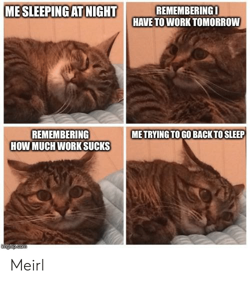 Work, Tomorrow, and Sleep: MESLEEPING ATNIGHT  REMEMBERINGI  HAVE TO WORK TOMORROW  REMEMBERING  HOW MUCHWORK SUCKS  ME TRYING TO GO BACK TO SLEEP  tmgfip.com Meirl