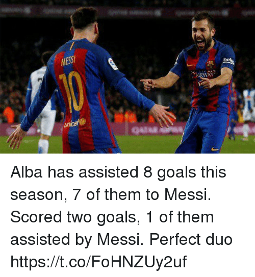 alba: MESS  AIRWAY  uncef Alba has assisted 8 goals this season, 7 of them to Messi.   Scored two goals, 1 of them assisted by Messi.   Perfect duo https://t.co/FoHNZUy2uf