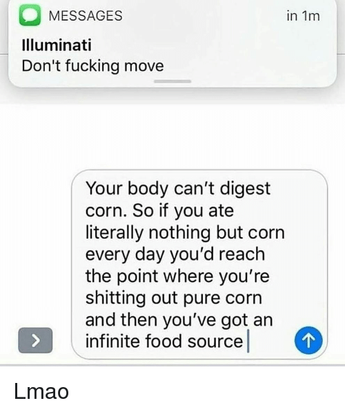 Food, Fucking, and Illuminati: MESSAGES  Illuminati  Don't fucking movee  in 1m  Your body can't digest  corn. So if you ate  literally nothing but corn  every day you'd reach  the point where you're  shitting out pure corn  and then you've got an  infinite food source Lmao