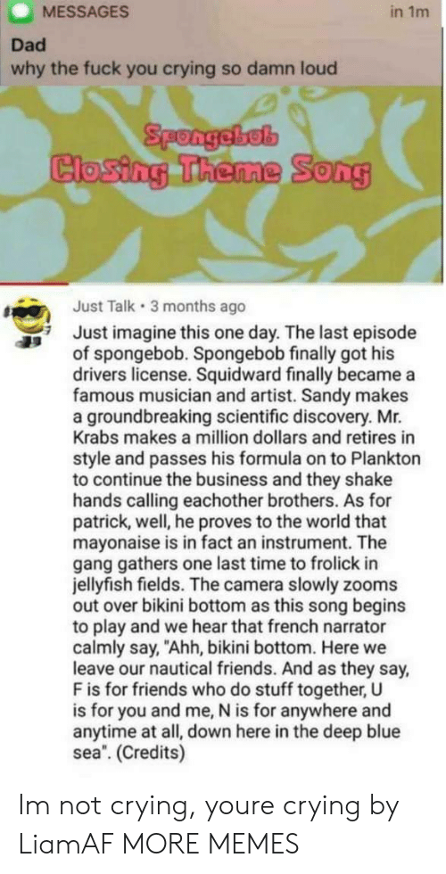 "Mr. Krabs: MESSAGES  in 1m  Dad  why the fuck you crying so damn loud  Spongebel  Closing Theme Song  Just Talk 3 months ago  Just imagine this one day. The last episode  of spongebob. Spongebob finally got his  drivers license. Squidward finally became a  famous musician and artist. Sandy makes  a groundbreaking scientific discovery. Mr.  Krabs makes a million dollars and retires in  style and passes his formula on to Plankton  to continue the business and they shake  hands calling eachother brothers. As for  patrick, well, he proves to the world that  mayonaise is in fact an instrument. The  gang gathers one last time to frolick in  jellyfish fields. The camera slowly zooms  out over bikini bottom as this song begins  to play and we hear that french narrator  calmly say, ""Ahh, bikini bottom. Here we  leave our nautical friends. And as they say,  F is for friends who do stuff together, U  is for you and me, N is for anywhere and  anytime at all, down here in the deep blue  sea. (Credits) Im not crying, youre crying by LiamAF MORE MEMES"
