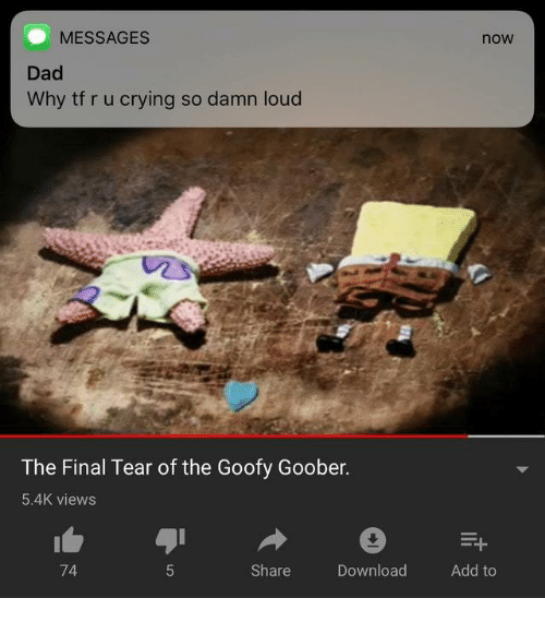 goofy goober: MESSAGES  now  Dad  Why tf r u crying so damn loud  The Final Tear of the Goofy Goober.  5.4K views  74  Share  Download  Add to