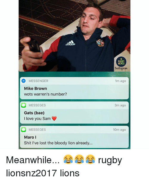 maro: MESSENGER  Mike Brown  wots warren's number?  MESSE GES  Gats (bae)  I love you Sam  MESSEGES  Maro l  Shit I've lost the bloody lion already.  RUGBY  MEMES  1nstagram  1m ago  3m ago  10m ago Meanwhile... 😂😂😂 rugby lionsnz2017 lions