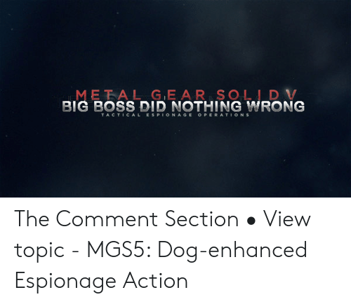 Big Boss, Dog, and Boss: META LGE AR SOLID V  BIG BOSS DID NOTHING WRONG The Comment Section • View topic - MGS5: Dog-enhanced Espionage Action