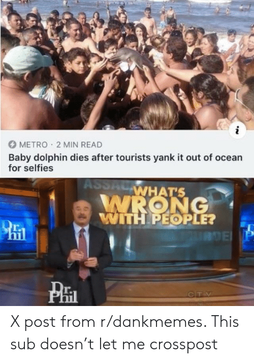 Dolphin, Metro, and Ocean: METRO  2 MIN READ  Baby dolphin dies after tourists yank it out of ocean  for selfies  WRONG  WHATS  TH PEOPLE?  15  r.  Til  PHI  T. X post from r/dankmemes. This sub doesn't let me crosspost
