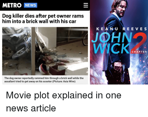 Dog Owner: METRO NEWS  Dog killer dies after pet owner rams  him into a brick wall with his car  K EA N U REE VE S  JOHN  WICK  CHAPTER  The dog owner reportedly rammed him through a brick wall while the  assailant tried to get away on his scooter (Picture: Asia Wire) Movie plot explained in one news article