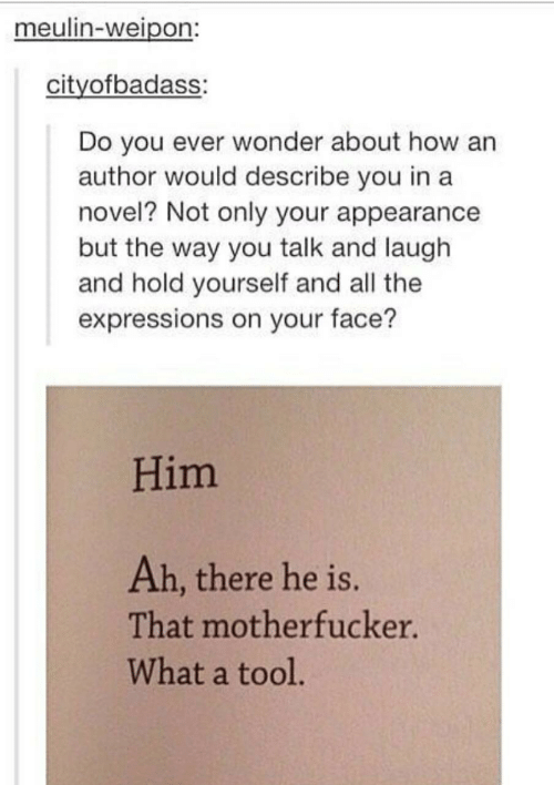 A Tool: meulin-weipon:  cityofbadass:  Do you ever wonder about how an  author would describe you in a  novel? Not only your appearance  but the way you talk and laugh  and hold yourself and all the  expressions on your face?  Him  Ah, there he is.  That motherfucker.  What a tool.
