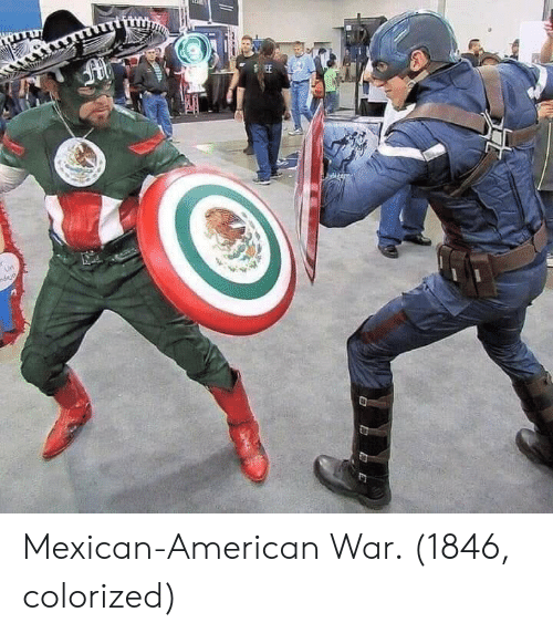 American, Mexican, and War: Mexican-American War. (1846, colorized)