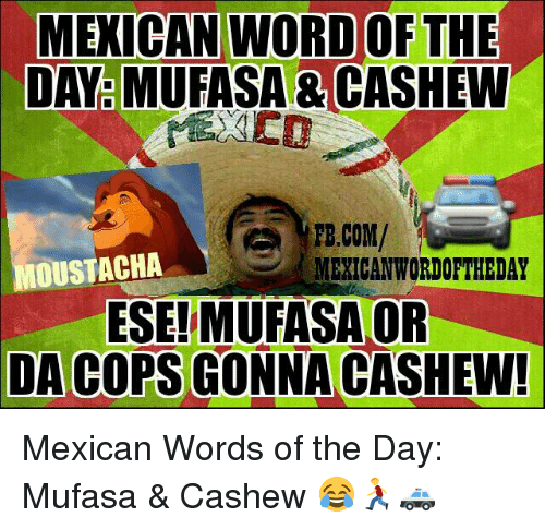 Mexican Wordoftheday: MEXICAN NORD OF THE  DAY MUFASA CASHEW  FB.COM/  OUSTACHA  MEXICAN WORDOFTHEDAY  ESE!MUFASA OR  DA COPS GONNA CASHEW! Mexican Words of the Day: Mufasa & Cashew 😂🏃🚓