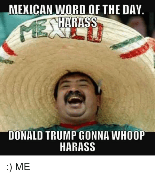 mexican word of the day donald trump gonna whoop harass me donald