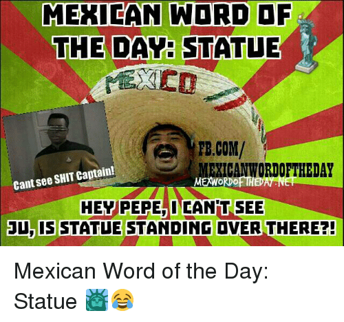 Shit, Word, and Mexican Word of the Day: MEXICAN WORD  THE DAY STATUE  PB.COM/  EXICANWORDOFTHEDAY  Cant see SHIT Captain!  MEWORDOFTH  HEY PEPE INCANPIT SEE  3U, IS STATUE STANDING DVER THERE?! Mexican Word of the Day: Statue 🗽😂