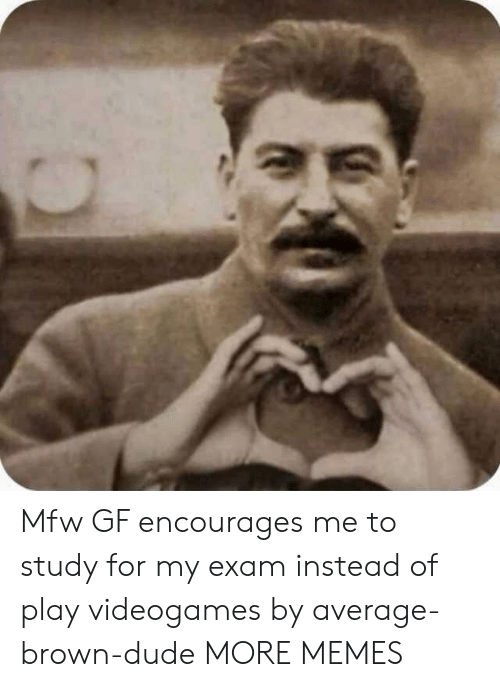 MFW: Mfw GF encourages me to study for my exam instead of play videogames by average-brown-dude MORE MEMES