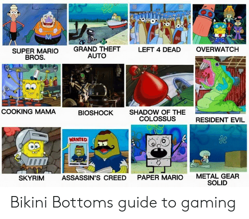 Super Mario Bros: Mi  GRAND THEFT  AUTO  LEFT 4 DEAD  OVERWATCH  SUPER MARIO  BROS.  COOKING MAMA  SHADOW OF THE  COLOSSUS  BIOSHOCK  RESIDENT EVIL  WANTED  METAL GEAR  SOLID  SKYRIM  ASSASSIN'S CREED  PAPER MARIO Bikini Bottoms guide to gaming