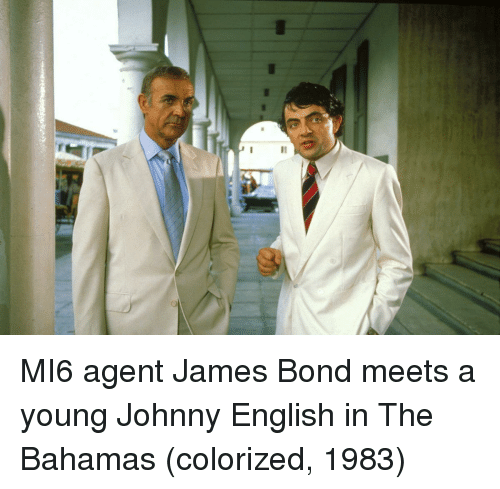 James Bond: MI6 agent James Bond meets a young Johnny English in The Bahamas (colorized, 1983)