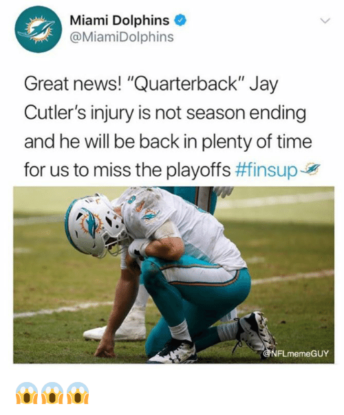 "Miami Dolphins: Miami Dolphins  @MiamiDolphins  Great news! ""Quarterback"" Jay  Cutler's injury is not season ending  and he will be back in plenty of time  for us to miss the playoffs #finsupJy  FLmemeGUY 😱😱😱"