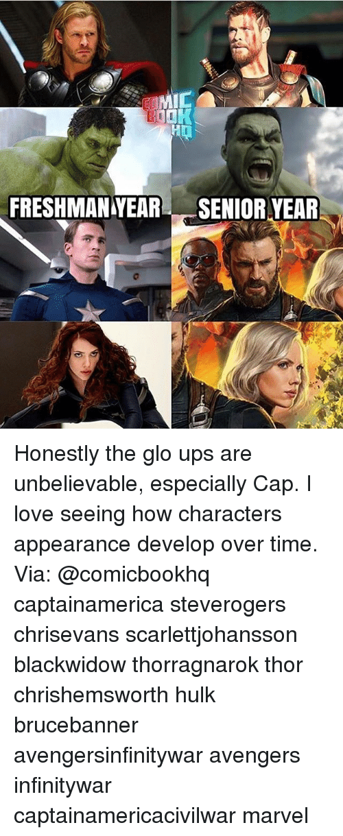 develope: MIC  FRESHMANYEAR SENIOR YEAR Honestly the glo ups are unbelievable, especially Cap. I love seeing how characters appearance develop over time. Via: @comicbookhq captainamerica steverogers chrisevans scarlettjohansson blackwidow thorragnarok thor chrishemsworth hulk brucebanner avengersinfinitywar avengers infinitywar captainamericacivilwar marvel