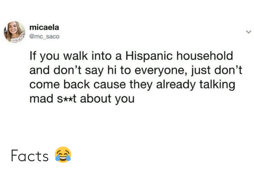 Facts, Memes, and Mad: micaela  @mc_saco  If you walk into a Hispanic household  and don't say hi to everyone, just don't  come back cause they already talking  mad s**t about you Facts 😂
