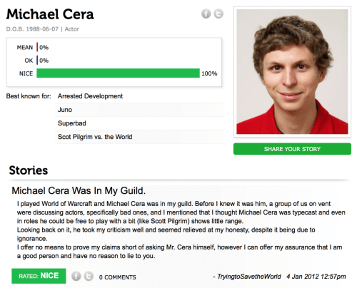 I Offer: Michael Cera  D.O.B. 1988-06-07 | Actor  MEAN 0%  OK |0%  NICE  100%  Best known for: Arrested Development  Juno  Superbad  Scot Pilgrim vs. the World  SHARE YOUR STORY  Stories  Michael Cera Was In My Guild.  I played World of Warcraft and Michael Cera was in my guild. Before I knew it was him, a group of us on vent  were discussing actors, specifically bad ones, and I mentioned that I thought Michael Cera was typecast and even  in roles he could be free to play with a bit (like Scott Pilgrim) shows little range.  Looking back on it, he took my criticism well and seemed relieved at my honesty, despite it being due to  ignorance.  I offer no means to prove my claims short of asking Mr. Cera himself, however I can offer my assurance that I am  a good person and have no reason to lie to you.  RATED: NICE  - TryingtoSavetheWorld 4 Jan 2012 12:57pm  O COMMENTS